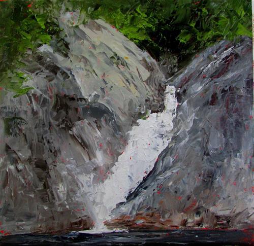 """8 x 8 waterfall at Salmon Inlet"" original fine art by Linda Yurgensen"