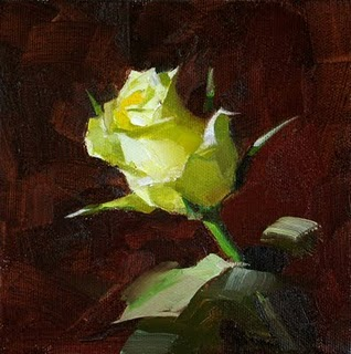 """""""A Yellow Rose of Texas --- Sold"""" original fine art by Qiang Huang"""
