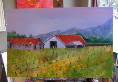 """Sunset and Vine, Oil Painting by Linda McCoy"" original fine art by Linda McCoy"