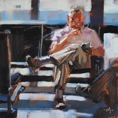 """Compelling Read"" original fine art by Carol Marine"