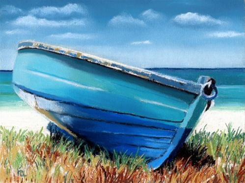 """Small Blue Boat"" original fine art by Ria Hills"