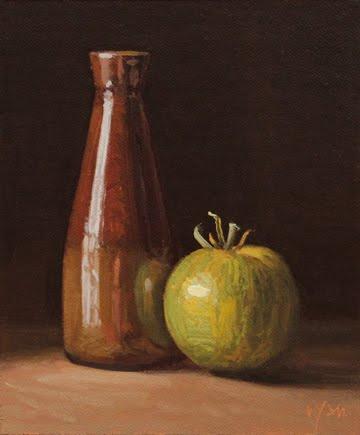 """Handmade Bottle with Green Tomato"" original fine art by Abbey Ryan"