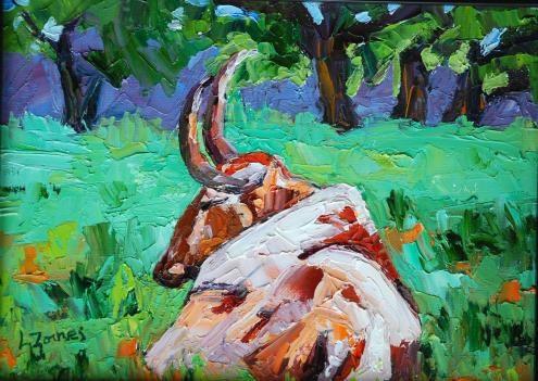 """LBJ Ranch Bull"" original fine art by Liz Zornes"