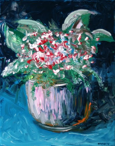 """""""Abstract Red Roses in Vase Acrylic Palette Knife Painting"""" original fine art by Mark Webster"""