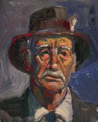 """Old Gray Hat"" original fine art by Raymond Logan"
