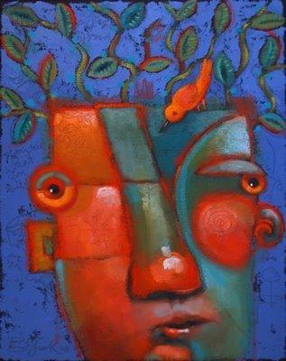 """Little Green Thoughts"" original fine art by Brenda York"
