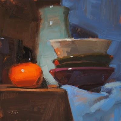 """Reflecting Orange"" original fine art by Carol Marine"