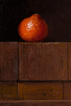 """""""Tangelo on Wood Blocks (+ two thoughts about pennies)"""" original fine art by Abbey Ryan"""