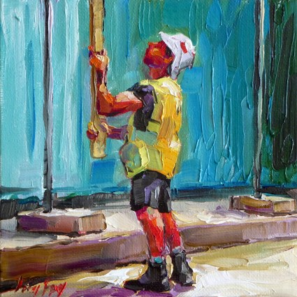 """At the construction site"" original fine art by Jurij Frey"