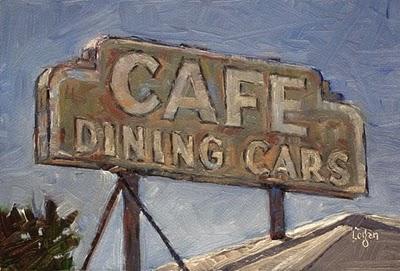 """Cafe Dining Cars Sign"" original fine art by Raymond Logan"