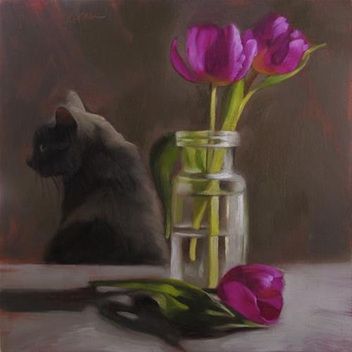 """""""Coco and Tulips, also How to Paint Clear Glass"""" original fine art by Diane Hoeptner"""