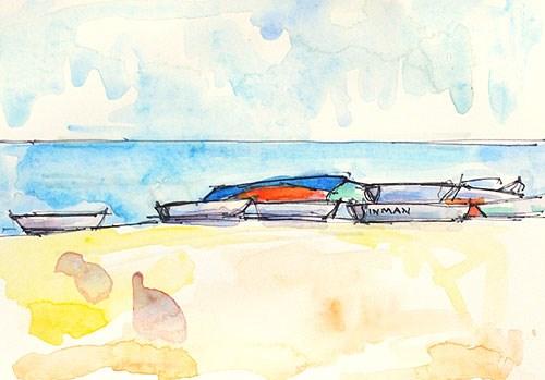"""""""Boats, Coronado Watercolor"""" original fine art by Kevin Inman"""