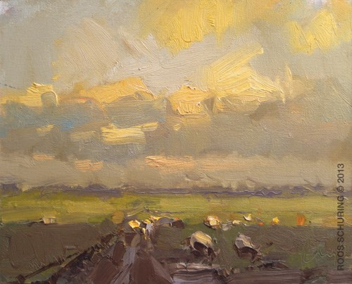 """""""Yellow clouds evening and sheep"""" original fine art by Roos Schuring"""