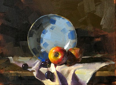 """""""Two Apples and Grapes --- Sold"""" original fine art by Qiang Huang"""