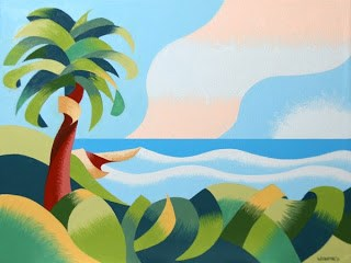 """Mark Webster - Abstract Geometric Cape Town Coast with Palm Tree Oil Painting"" original fine art by Mark Webster"