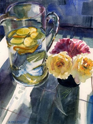 """Watercolor: Study for Poolside Can-Can (& a Daily Painting by Ed Terpening)"" original fine art by Belinda Del Pesco"