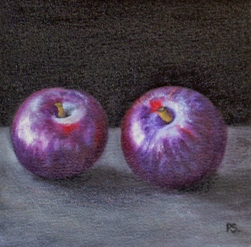 """""""Pair of red Plums"""" original fine art by Pera Schillings"""