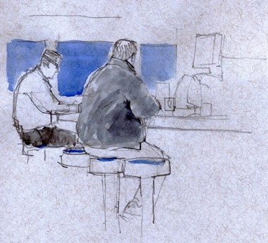 """Sketching on Friday morning at the Seaplane diner"" original fine art by Kathy Weber"