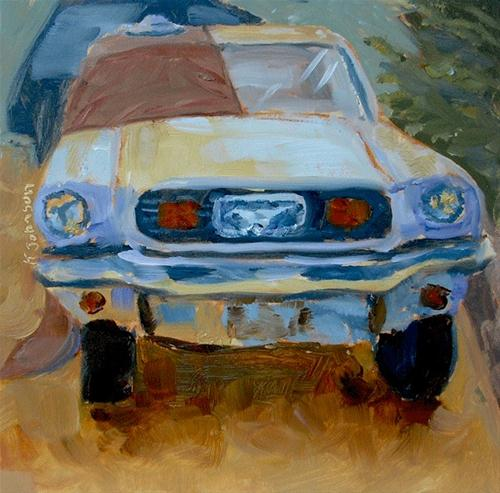 """""""'64 Mustang with Hoodie and Hat"""" original fine art by Kathy Johnson"""