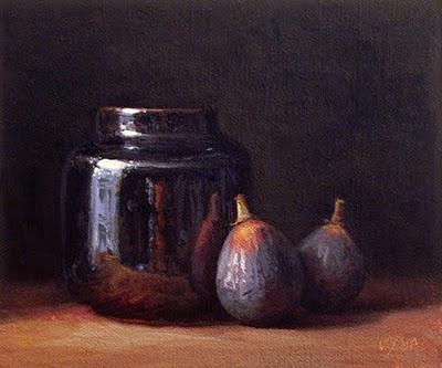 """Two Figs with Temmoku Ink Bottle"" original fine art by Abbey Ryan"