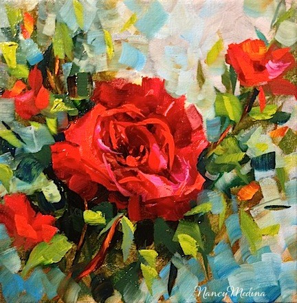 """""""SOLD ~ Red Red Rose and My Mother the Poet by Texas Flower Artist Nancy Medina"""" original fine art by Nancy Medina"""