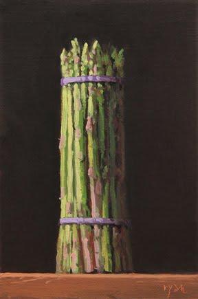 """Asparagus Bunch at Sunset"" original fine art by Abbey Ryan"