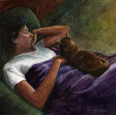"""Watercolor: Blanket Hog (& winners of the Art Give-a-Way)"" original fine art by Belinda Del Pesco"