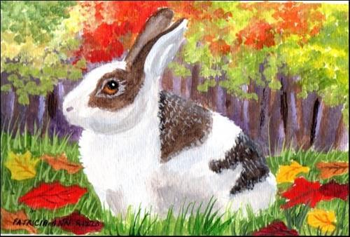 """""""Autumn Rabbit"""" original fine art by Patricia Ann Rizzo"""