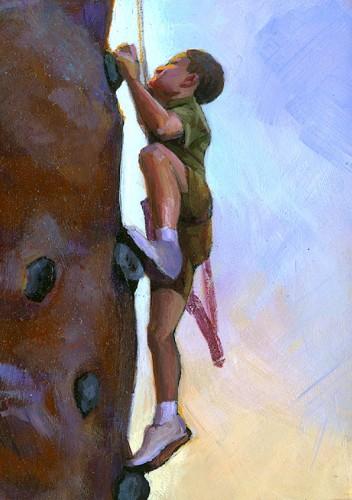 """""""Climber Boy"""" original fine art by Lesley Spanos"""