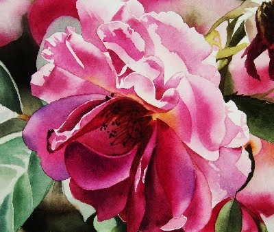 """Shy Rose II - Watercolor"" original fine art by Jacqueline Gnott, TWSA, WHS"