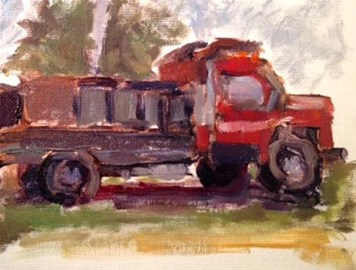 """""""Red Truck - Mike Rooney's Art Class"""" original fine art by Marcia Hodges"""