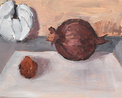"""""""Still Life With Onion, Croissant, and Citrus"""" original fine art by Kevin Inman"""