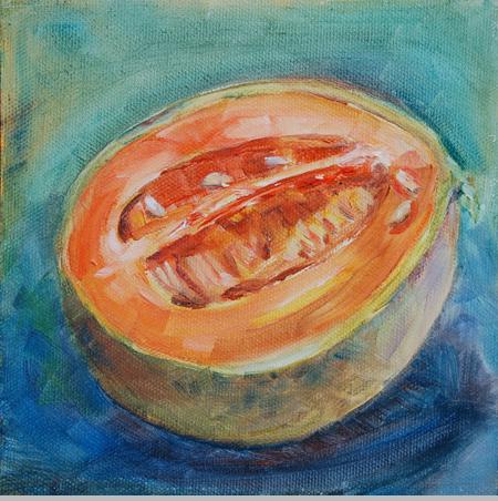 """Cantaloupe Study"" original fine art by Carol DeMumbrum"
