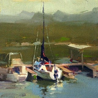 """Highland Lakes Marina"" original fine art by Qiang Huang"