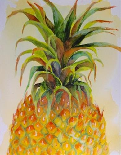 """Pineapple Greens, 12 x 9 Watercolor, Still Life"" original fine art by Donna Pierce-Clark"