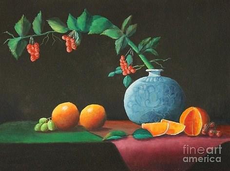 """The Asian Vase and Oranges"" original fine art by Bob Williams"