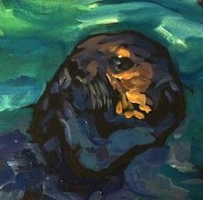 """Sea Otter Groomin"" original fine art by Kat Corrigan"