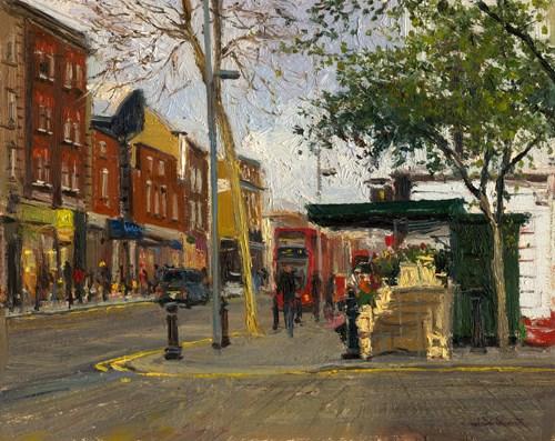 """The Flower Shop on Kings Road (22) Chelsea Marathon"" original fine art by Adebanji Alade"