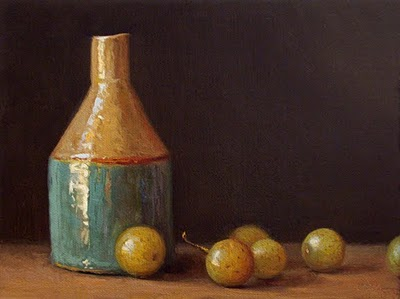 """""""Still Life with Bottle and Muscadine Grapes - available"""" original fine art by Abbey Ryan"""