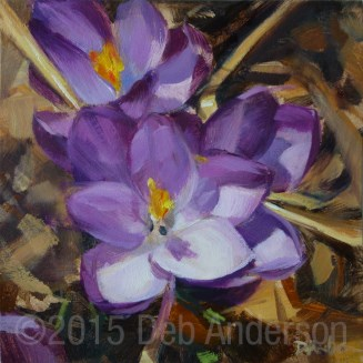 """Oil Painting: Crocuses"" original fine art by Deb Anderson"