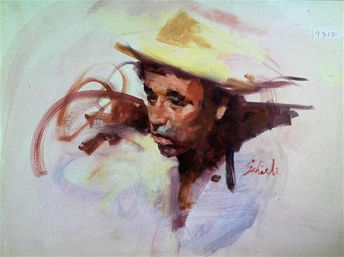 """head of Mexican farmer"" original fine art by Richard Schiele"