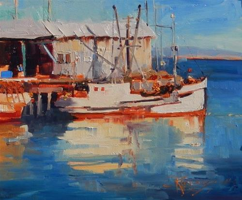 """""""Catch of the Day plein air, marinescape by Robin Weiss"""" original fine art by Robin Weiss"""