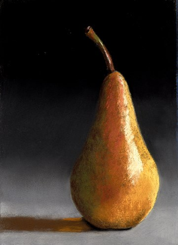 """""""Another Simple Pear pastel painting"""" original fine art by Ria Hills"""