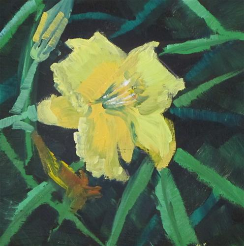 """""""Fast Lily   oil 4x4  316"""" original fine art by Christine Holzschuh"""