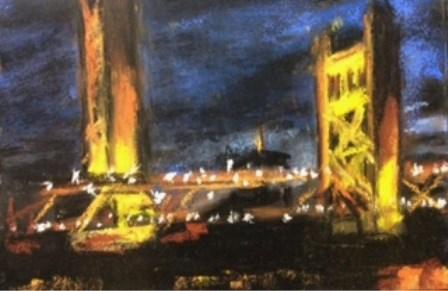 """Tower Bridge Nocturne"" original fine art by Marti Walker"