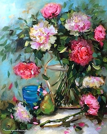 """A Painting Giveaway and Pink Cascade Peonies - Flower Paintings by Nancy Medina"" original fine art by Nancy Medina"
