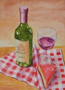 """""""Wine and Cheese"""" original fine art by Robert Frankis"""