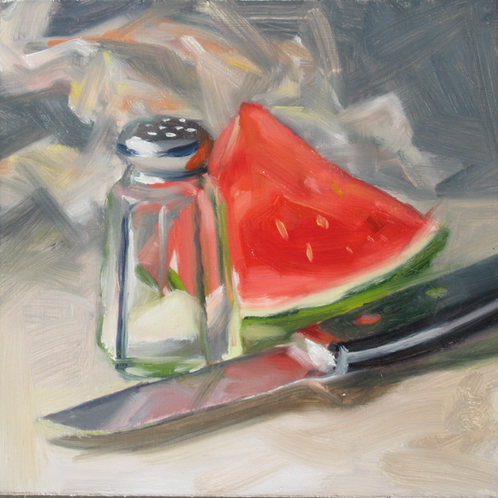 """Watermelon With Salt"" original fine art by Deb Anderson"