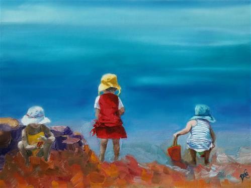 """Little Beach-Combers"" original fine art by Dana C"