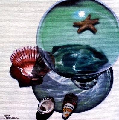 """Shell and Glass Orb Study"" original fine art by Jelaine Faunce"